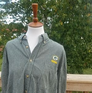 Green Bay Packers Plaid Button Up Shirt